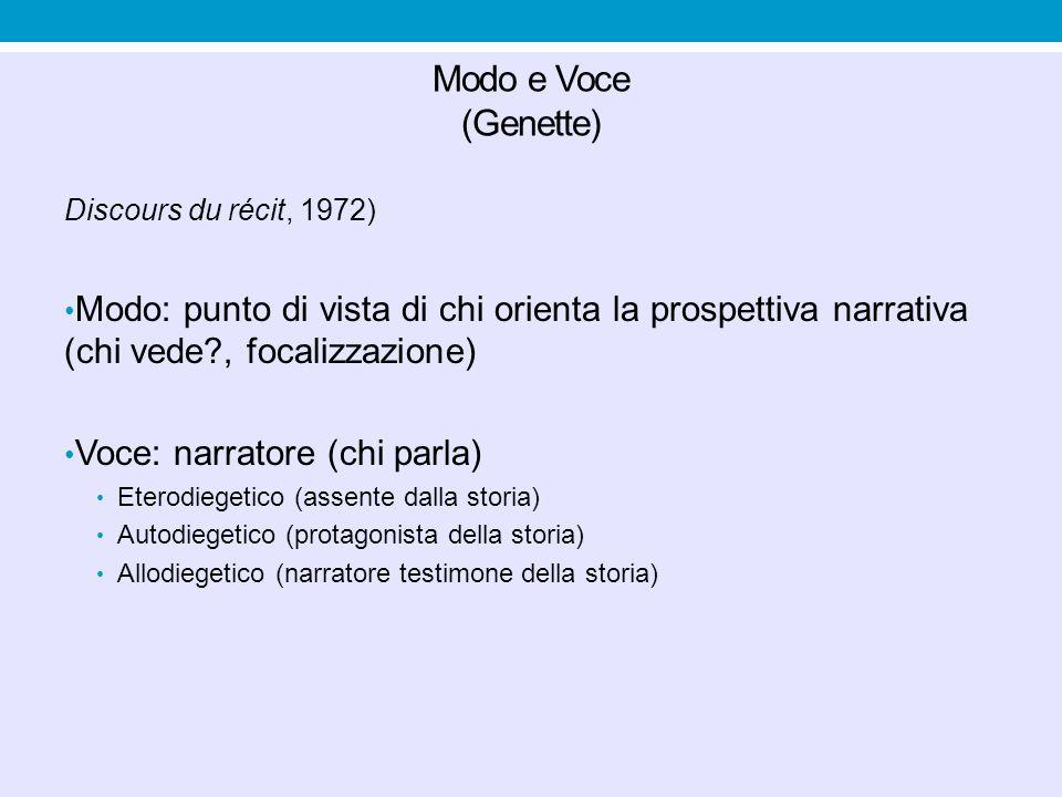 Modo e Voce (Genette) Discours du récit, 1972) Modo: punto di vista di chi orienta la prospettiva narrativa (chi vede , focalizzazione)