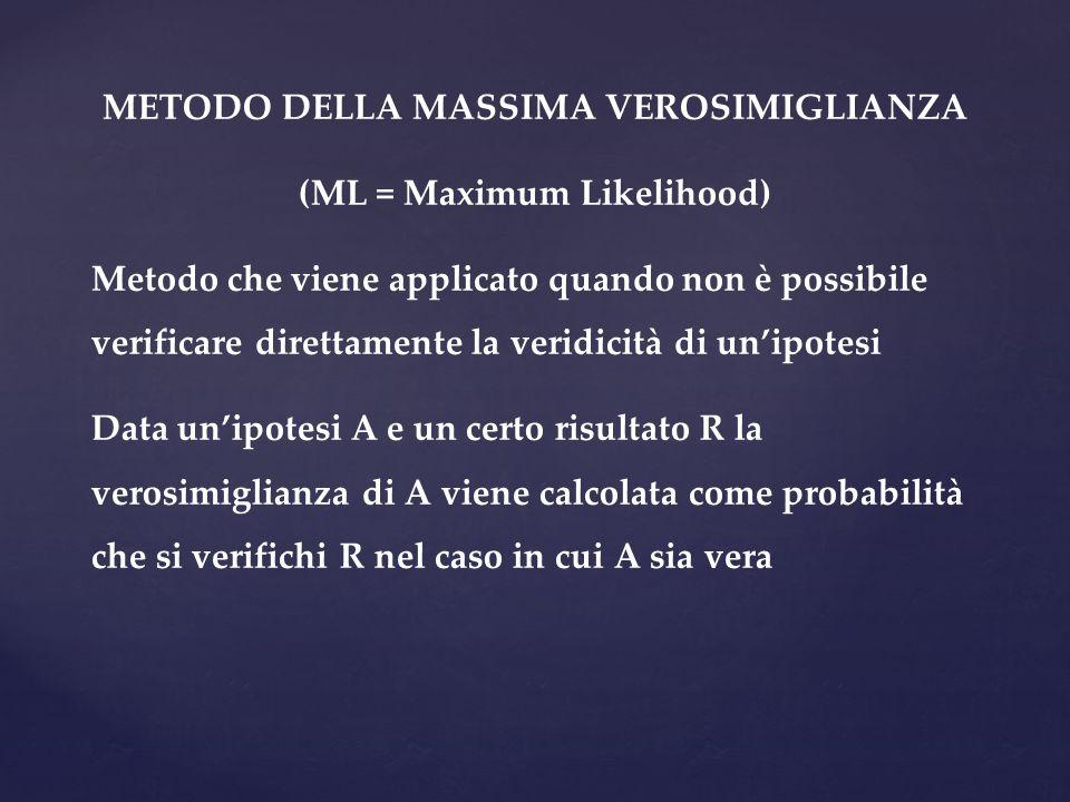 METODO DELLA MASSIMA VEROSIMIGLIANZA (ML = Maximum Likelihood)