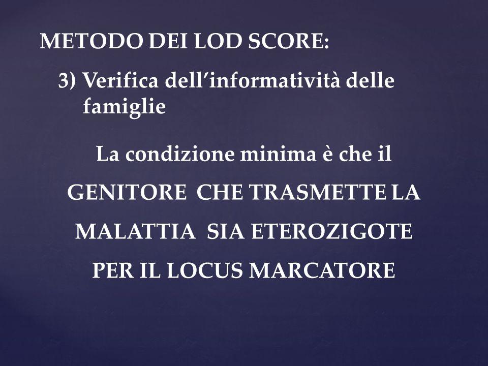 METODO DEI LOD SCORE: 3) Verifica dell'informatività delle famiglie.