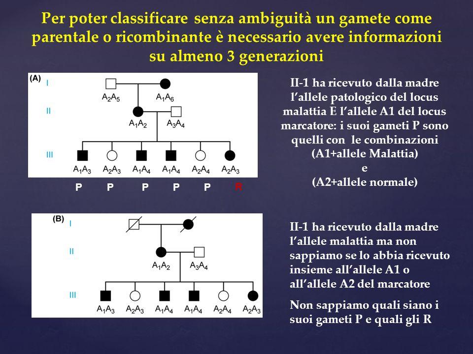 Per poter classificare senza ambiguità un gamete come parentale o ricombinante è necessario avere informazioni su almeno 3 generazioni