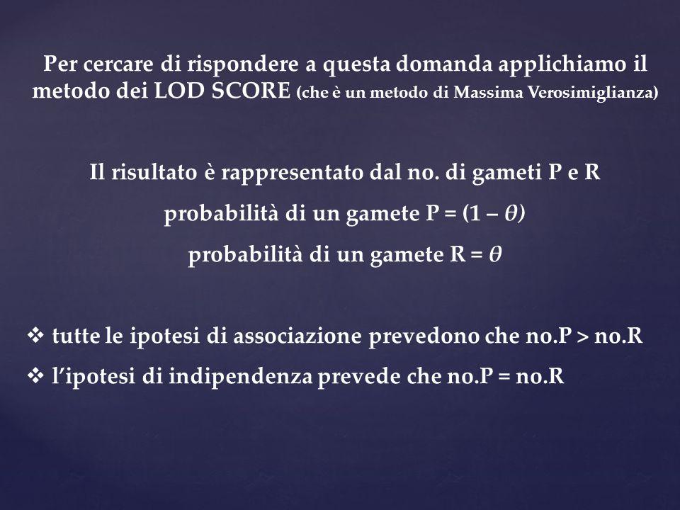 Il risultato è rappresentato dal no. di gameti P e R
