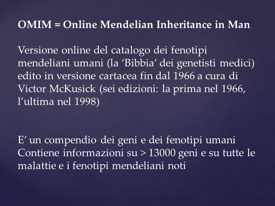 OMIM = Online Mendelian Inheritance in Man