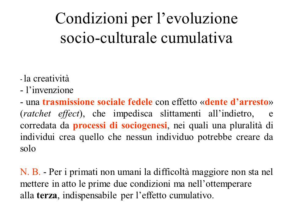 Condizioni per l'evoluzione socio-culturale cumulativa