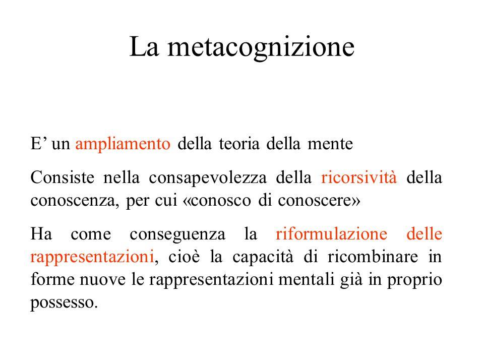 La metacognizione E' un ampliamento della teoria della mente