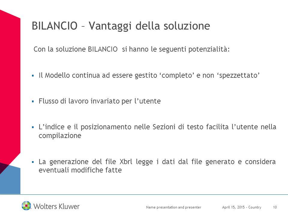 BILANCIO – Vantaggi della soluzione