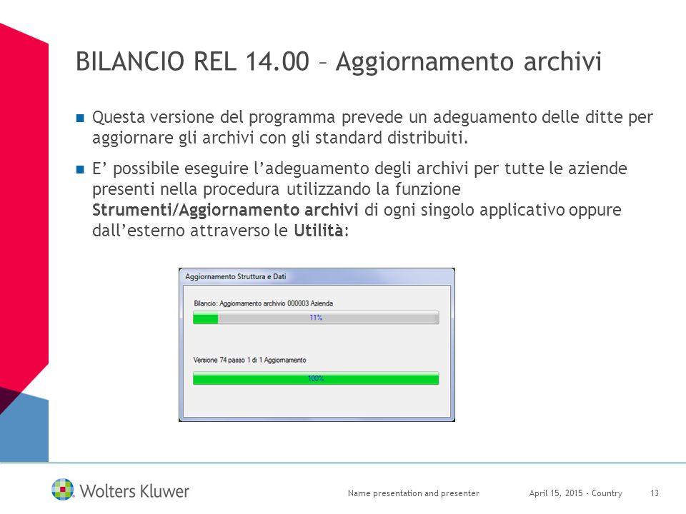 BILANCIO REL 14.00 – Aggiornamento archivi