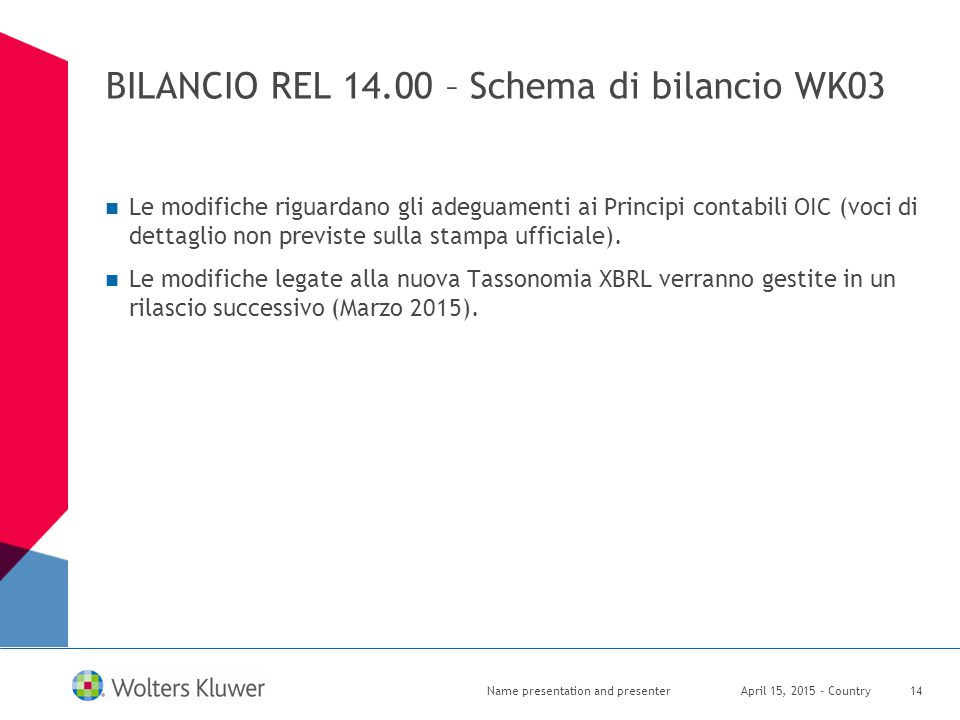 BILANCIO REL 14.00 – Schema di bilancio WK03