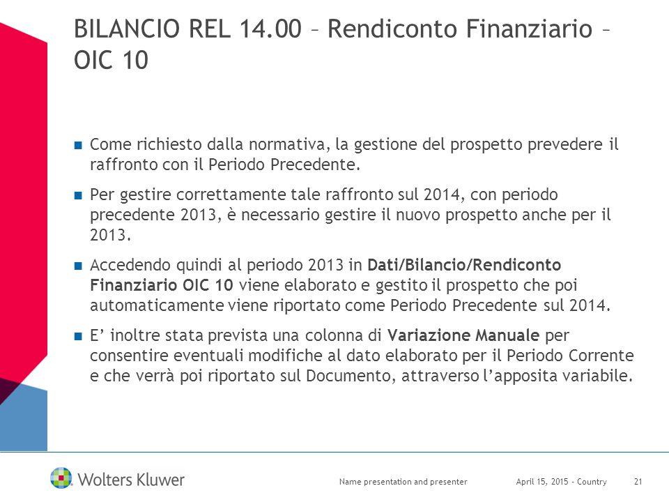 BILANCIO REL 14.00 – Rendiconto Finanziario – OIC 10