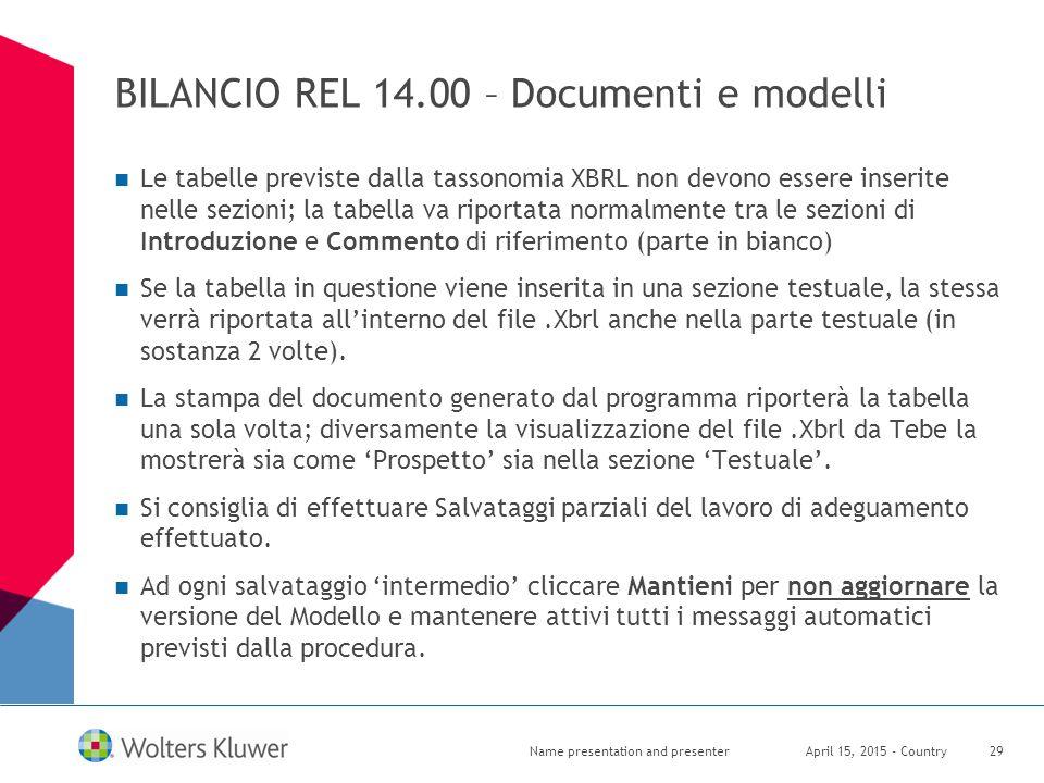 BILANCIO REL 14.00 – Documenti e modelli