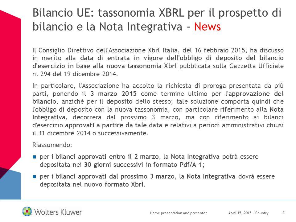 Bilancio UE: tassonomia XBRL per il prospetto di bilancio e la Nota Integrativa - News