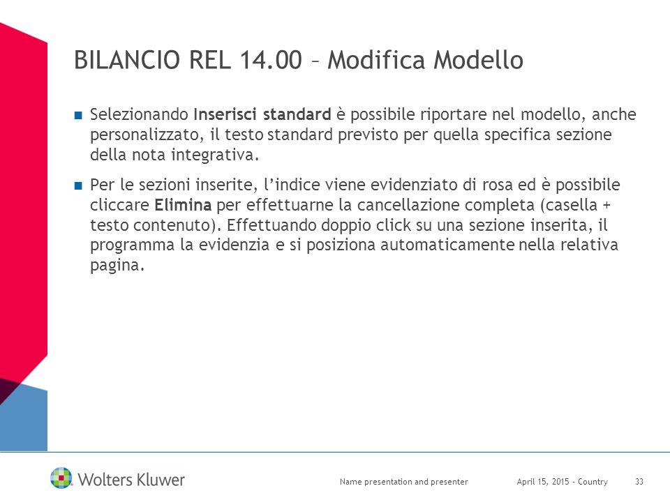 BILANCIO REL 14.00 – Modifica Modello