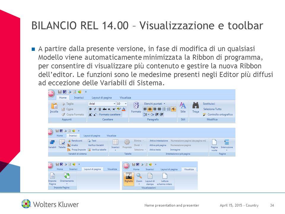 BILANCIO REL 14.00 – Visualizzazione e toolbar
