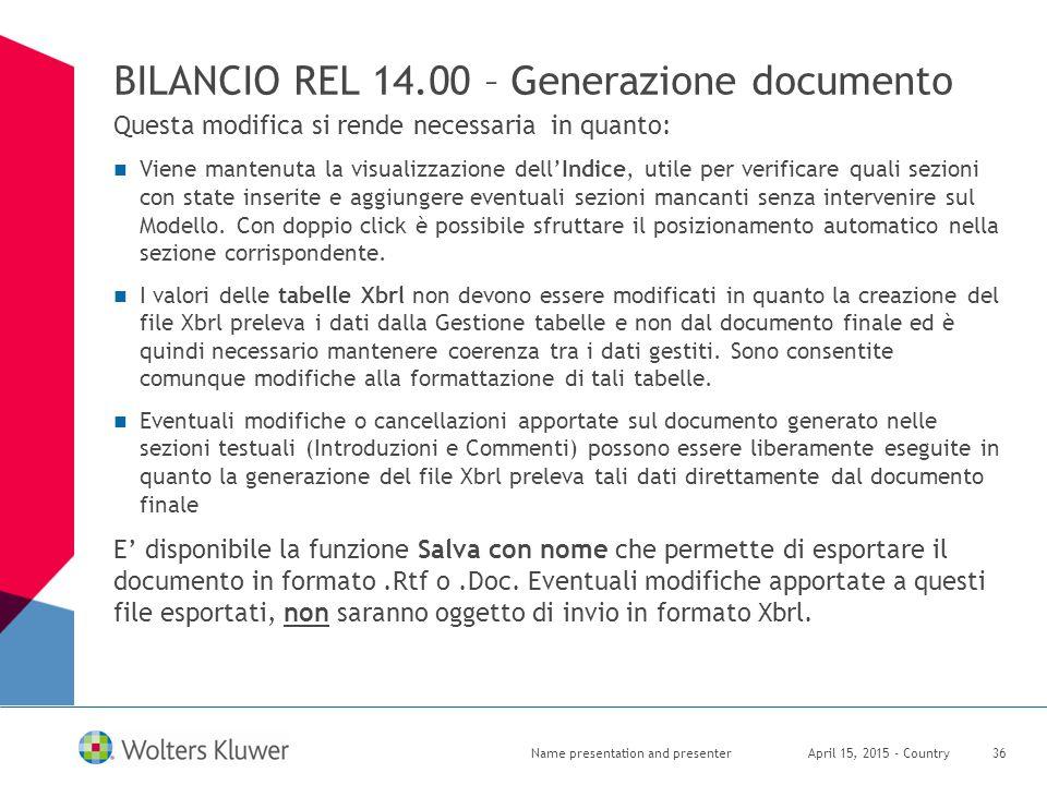 BILANCIO REL 14.00 – Generazione documento