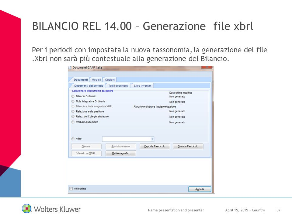 BILANCIO REL 14.00 – Generazione file xbrl