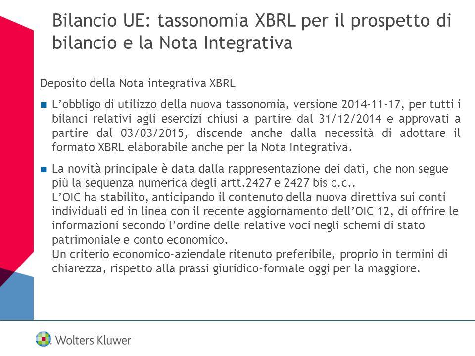 Bilancio UE: tassonomia XBRL per il prospetto di bilancio e la Nota Integrativa