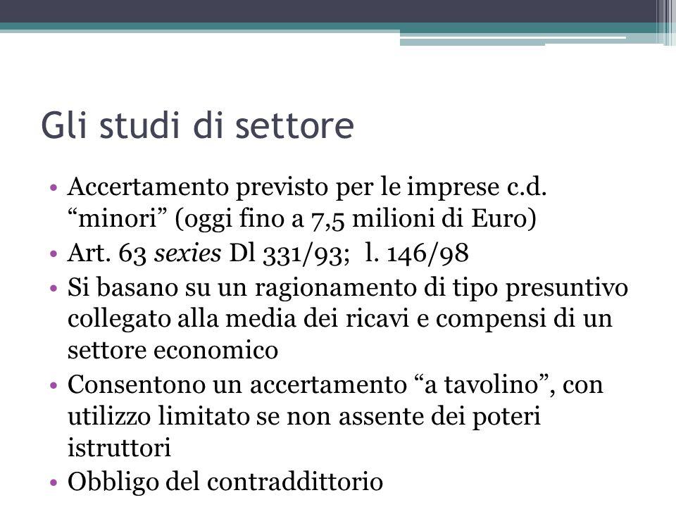 Gli studi di settore Accertamento previsto per le imprese c.d. minori (oggi fino a 7,5 milioni di Euro)
