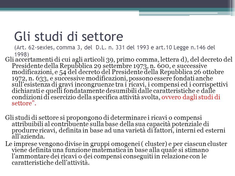Gli studi di settore (Art. 62-sexies, comma 3, del D. L. n