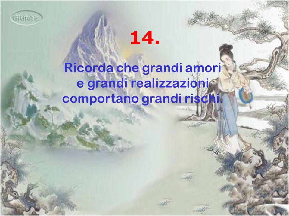 14. Ricorda che grandi amori e grandi realizzazioni comportano grandi rischi.