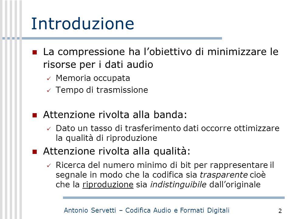 Introduzione La compressione ha l'obiettivo di minimizzare le risorse per i dati audio. Memoria occupata.