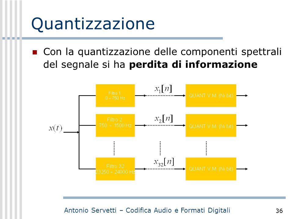 Quantizzazione Con la quantizzazione delle componenti spettrali del segnale si ha perdita di informazione.
