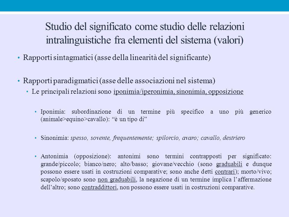 Studio del significato come studio delle relazioni intralinguistiche fra elementi del sistema (valori)