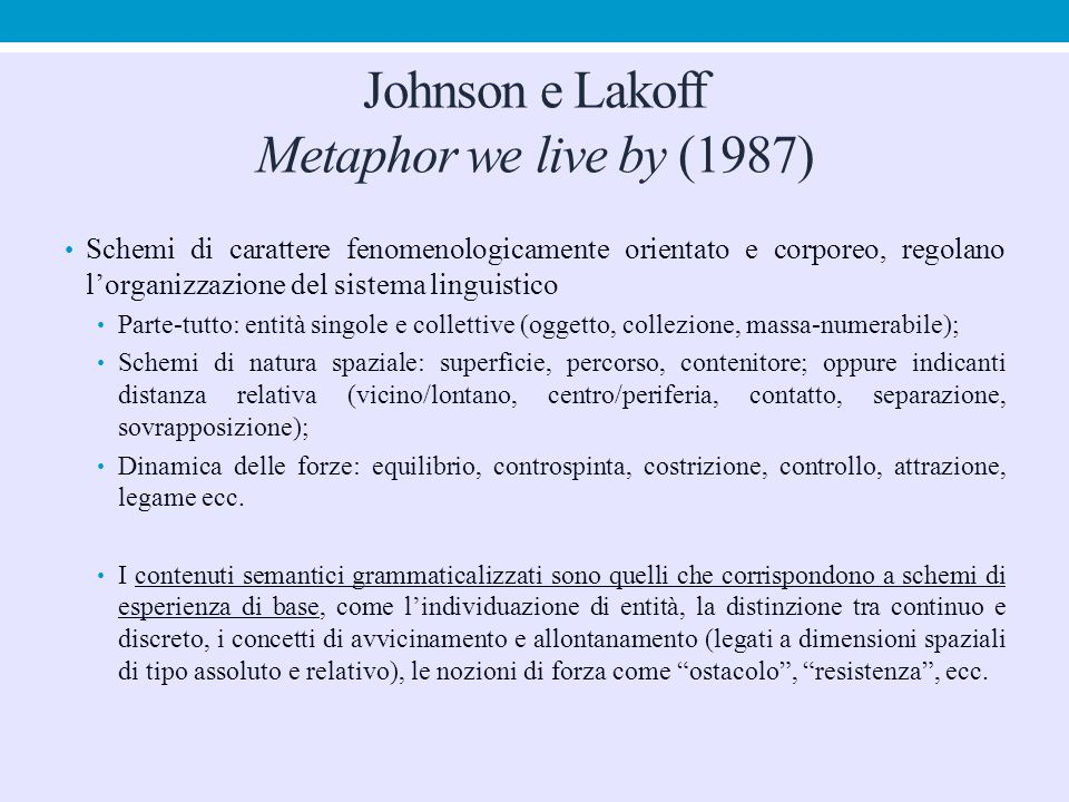 Johnson e Lakoff Metaphor we live by (1987)