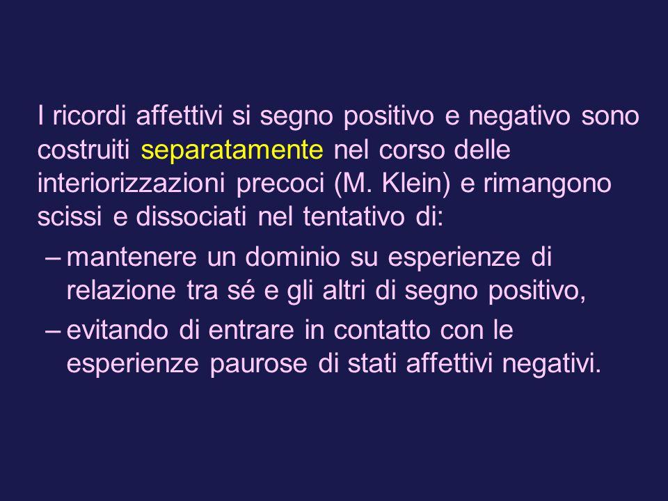 I ricordi affettivi si segno positivo e negativo sono costruiti separatamente nel corso delle interiorizzazioni precoci (M. Klein) e rimangono scissi e dissociati nel tentativo di: