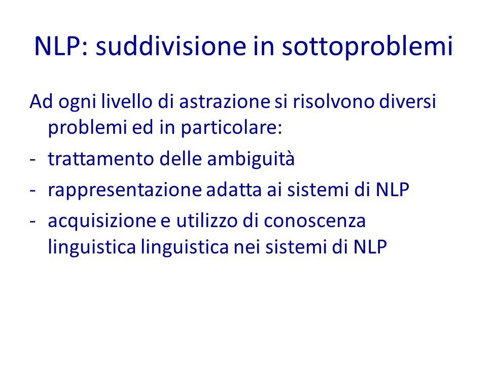 NLP: suddivisione in sottoproblemi