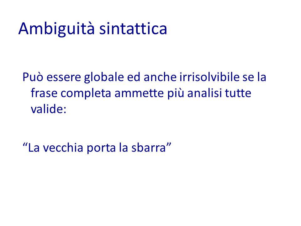 Ambiguità sintattica Può essere globale ed anche irrisolvibile se la frase completa ammette più analisi tutte valide: