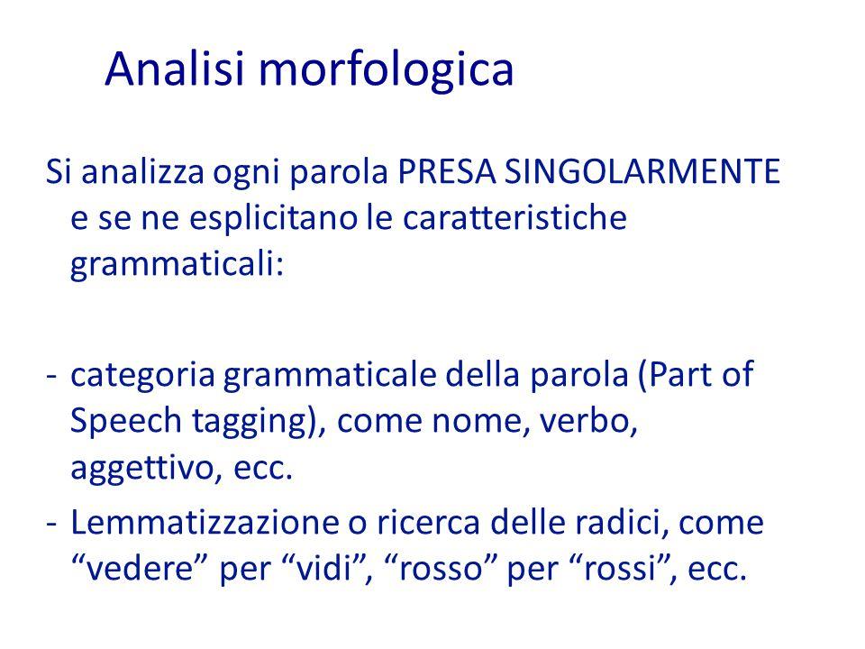 Analisi morfologica Si analizza ogni parola PRESA SINGOLARMENTE e se ne esplicitano le caratteristiche grammaticali: