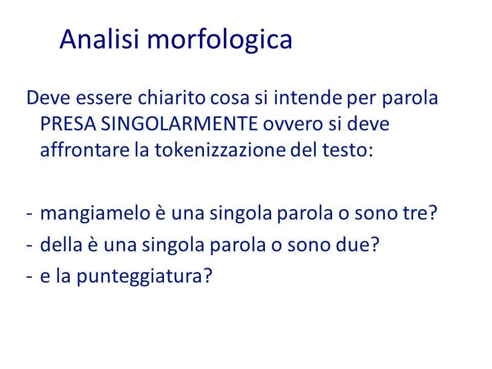 Analisi morfologica Deve essere chiarito cosa si intende per parola PRESA SINGOLARMENTE ovvero si deve affrontare la tokenizzazione del testo: