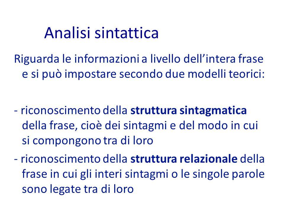 Analisi sintattica Riguarda le informazioni a livello dell'intera frase e si può impostare secondo due modelli teorici: