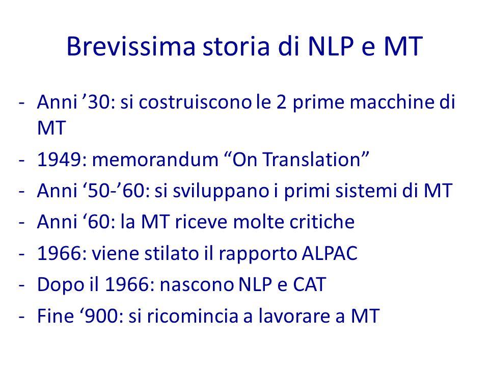 Brevissima storia di NLP e MT