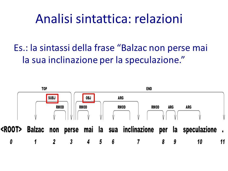 Analisi sintattica: relazioni