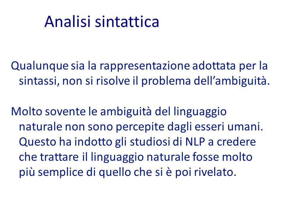 Analisi sintattica Qualunque sia la rappresentazione adottata per la sintassi, non si risolve il problema dell'ambiguità.