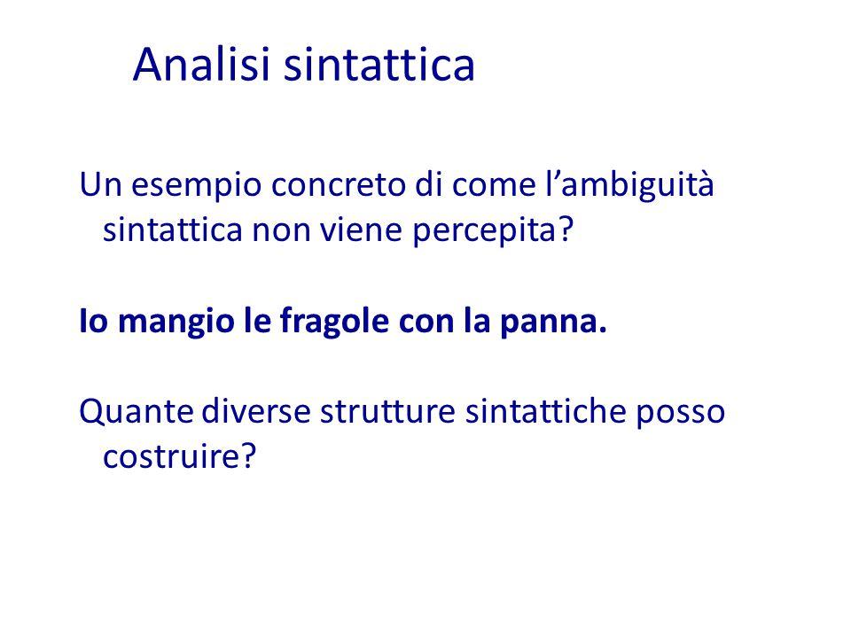 Analisi sintattica Un esempio concreto di come l'ambiguità sintattica non viene percepita Io mangio le fragole con la panna.