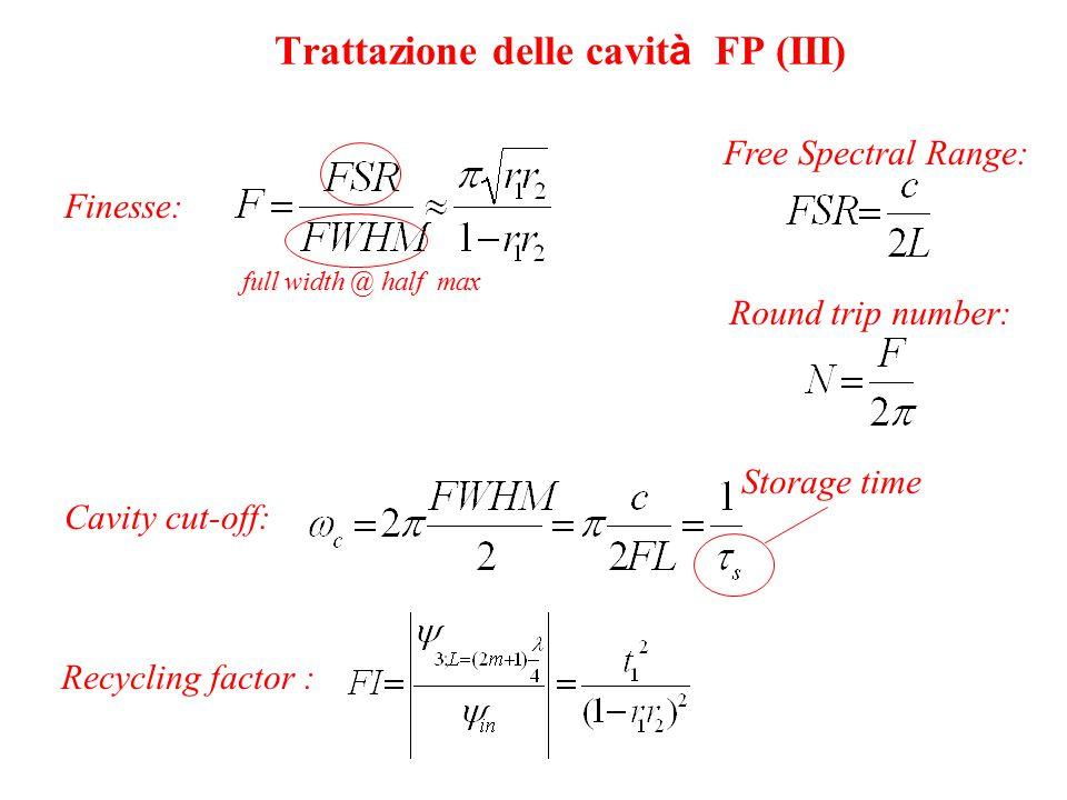 Trattazione delle cavità FP (III)
