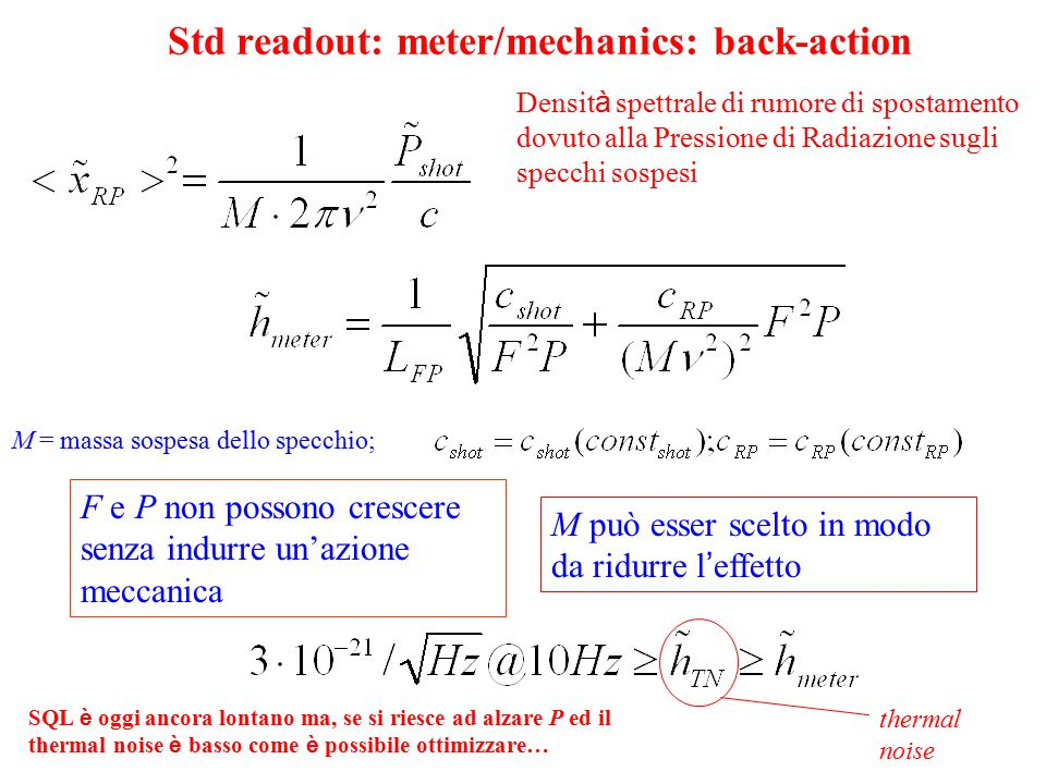 Std readout: meter/mechanics: back-action