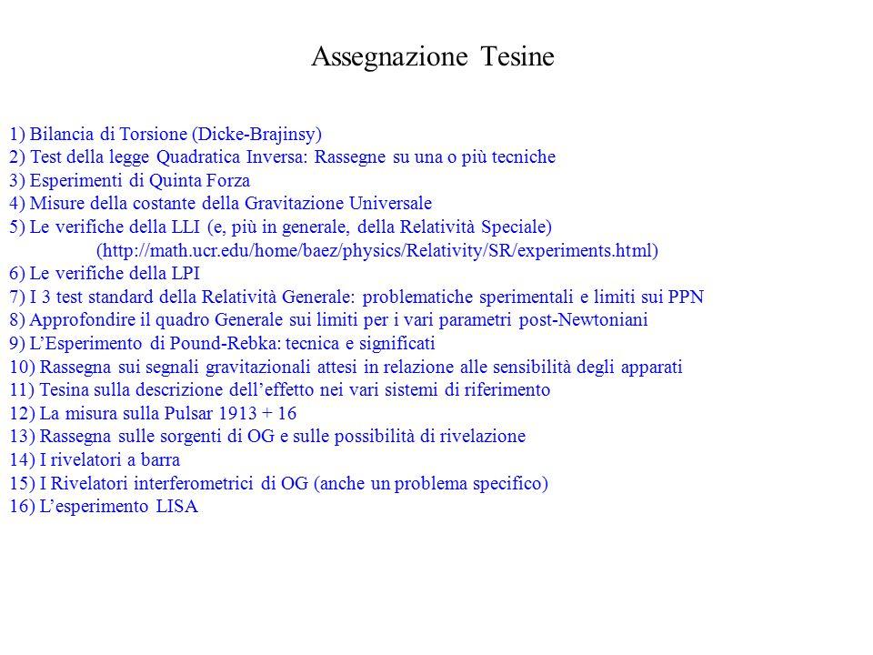 Assegnazione Tesine 1) Bilancia di Torsione (Dicke-Brajinsy)