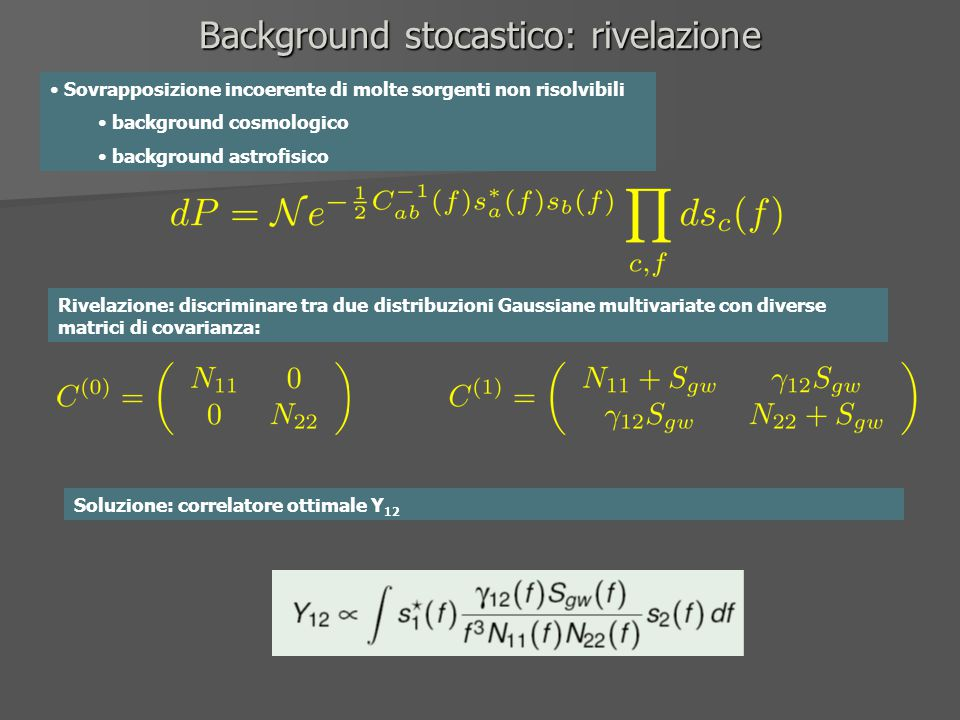 Background stocastico: rivelazione