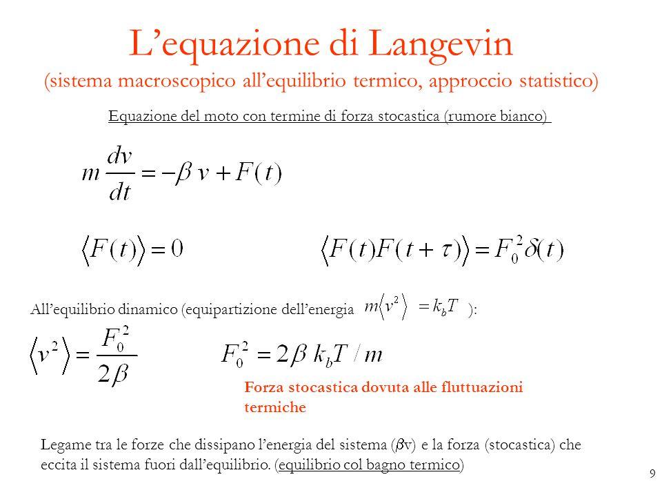 L'equazione di Langevin (sistema macroscopico all'equilibrio termico, approccio statistico)