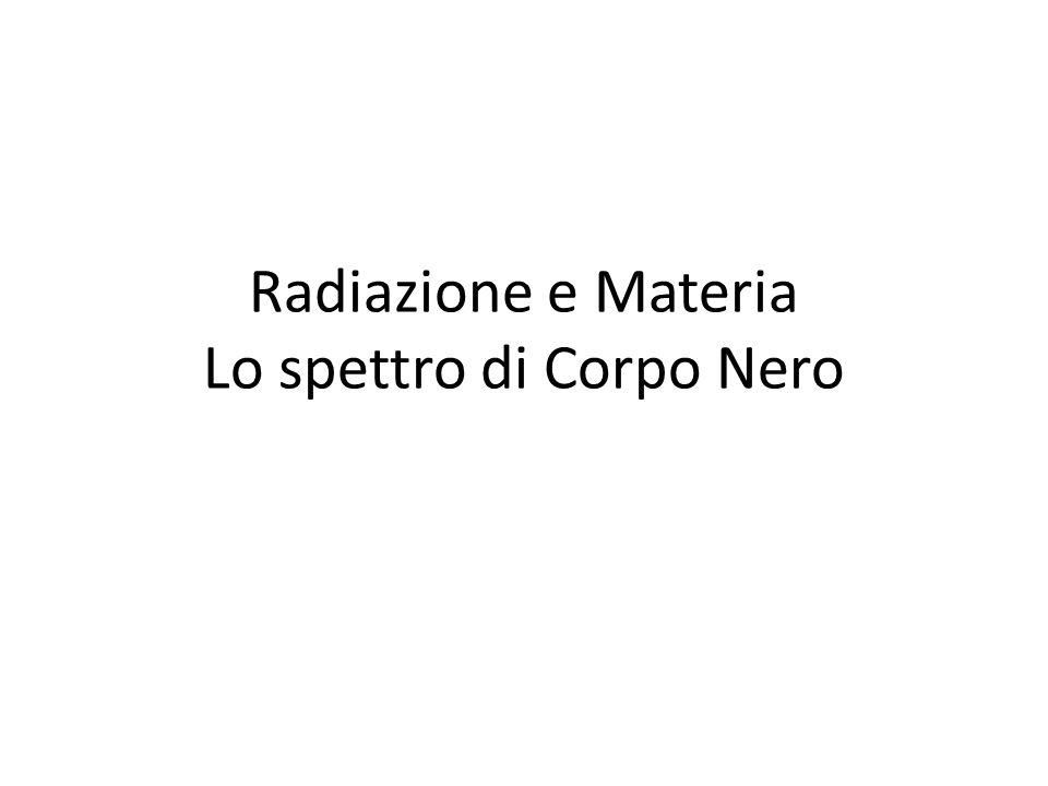 Radiazione e Materia Lo spettro di Corpo Nero