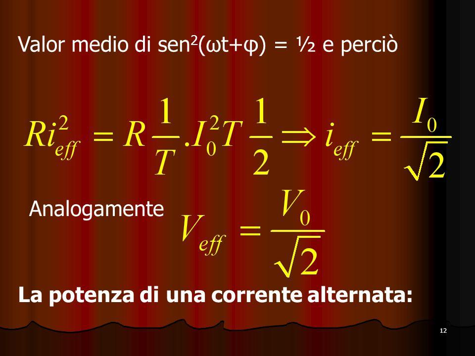 Valor medio di sen2(ωt+φ) = ½ e perciò