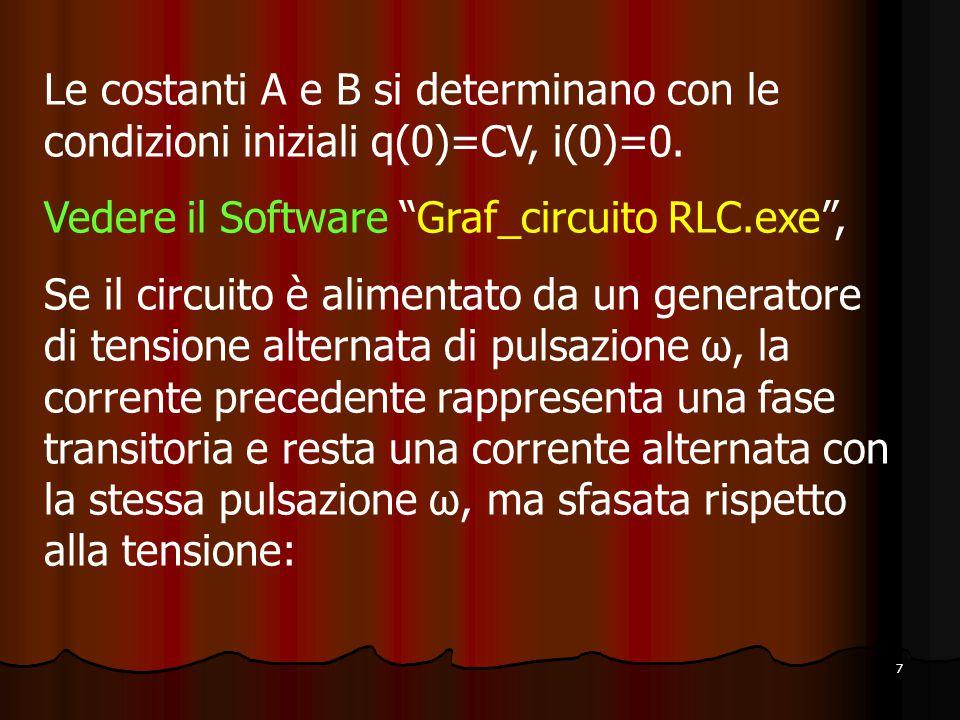 Le costanti A e B si determinano con le condizioni iniziali q(0)=CV, i(0)=0.