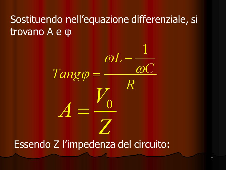 Sostituendo nell'equazione differenziale, si trovano A e φ