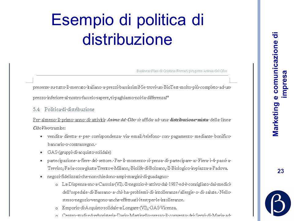 Esempio di politica di distribuzione