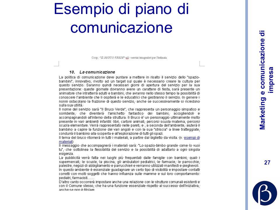 Esempio di piano di comunicazione