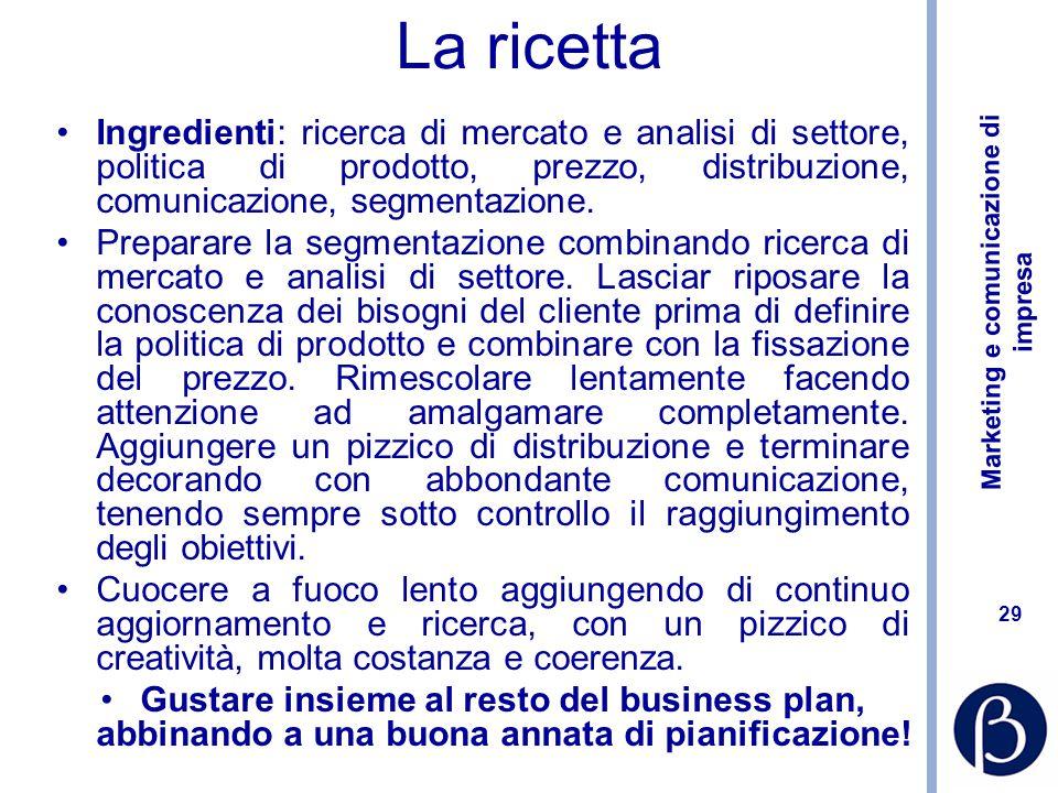 La ricetta Ingredienti: ricerca di mercato e analisi di settore, politica di prodotto, prezzo, distribuzione, comunicazione, segmentazione.