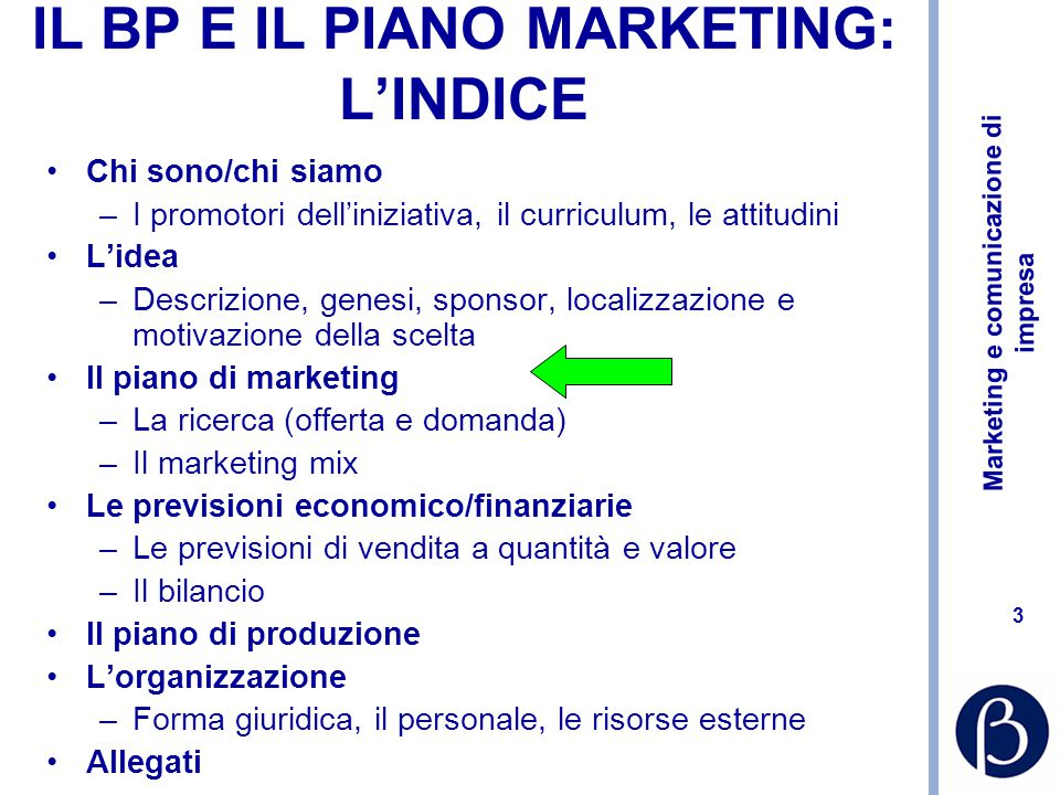 IL BP E IL PIANO MARKETING: L'INDICE