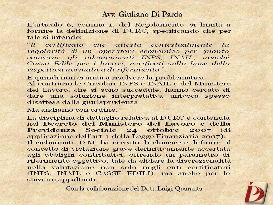 Con la collaborazione del Dott. Luigi Quaranta